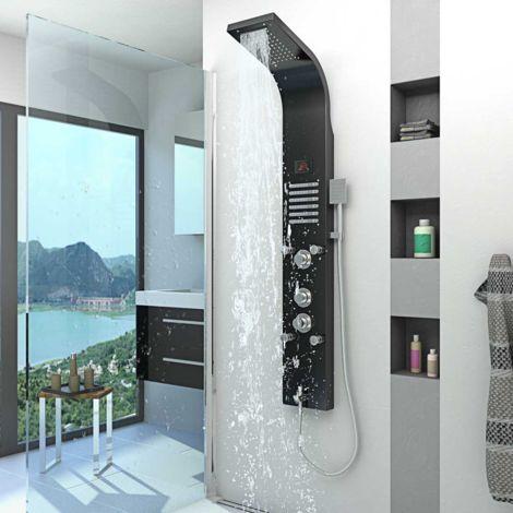 Duschpaneel aus Edelstahl Duschsäule Duscharmatur Thermostat Farbe schwarz DP01