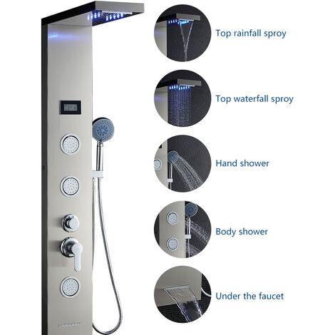 Duschpaneel Duscharmaturen Set mit 5 verstellbare Düsen Regendusche Duschbrause Handbrause Duschpaneel Duschsystem aus Edelstahl SUS304 Duschset mit LED Wassertemperatur Dispaly