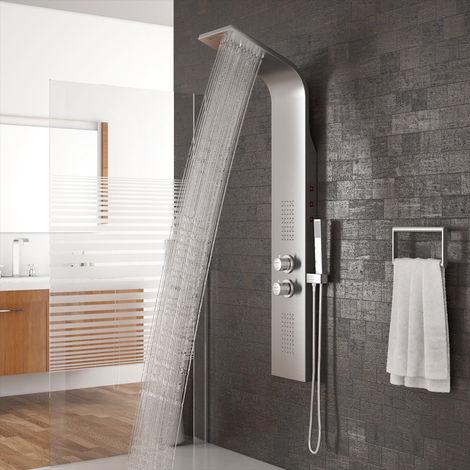 Duschpaneel Duschsäule LED Beleuchtung Wasserfall Regendusche Massage und SEDAL Thermostat Edelstahl silber 136x22x37.5cm