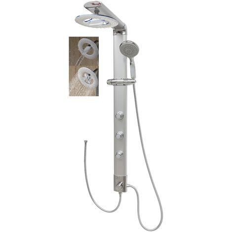Duschpaneel Eckmontage ohne Armatur Wasserfall Regendusche Duschsäule Massagedüsen Silber Duschsystem Duschset