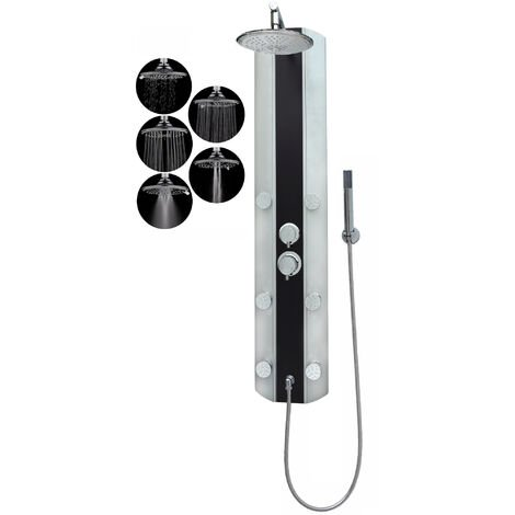 Duschpaneel Eckmontage Schwarz Silber ohne Armatur Regendusche fünf Funktionen 6 Massagedüsen Wandmontage Duschsystem Duschsäule