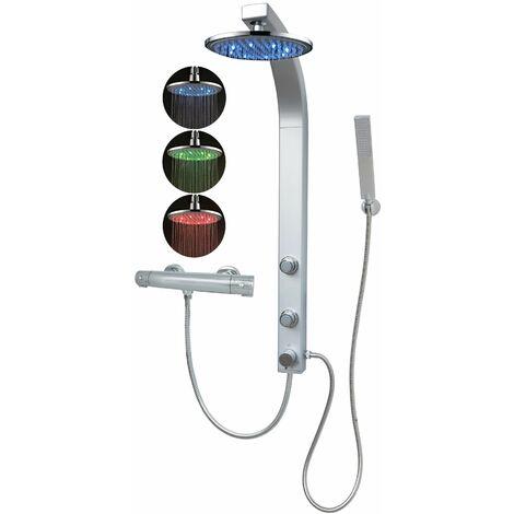 Duschpaneel mit Led Regendusche Duschsäule Thermostat Silber mit Massagedüsen Duschsystem Eckmontage