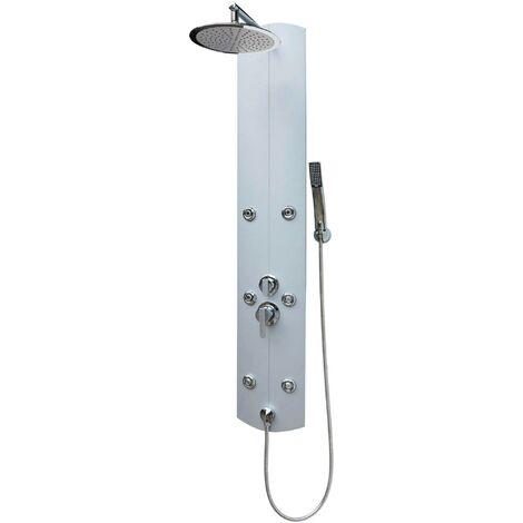 Duschpaneel mit Regendusche Eckmontage Regendusche rund Silber Massagedüsen Duschsystem Duschsäule mit Mischbatterie Armatur Wandmontage