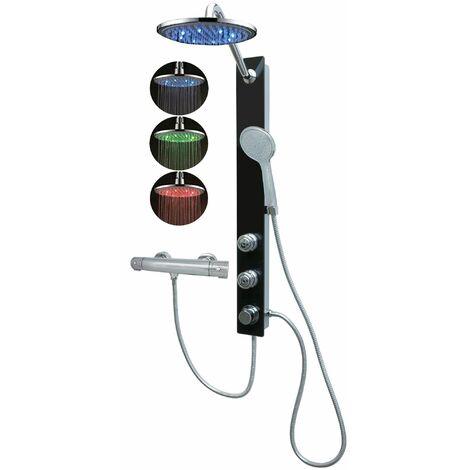 Duschpaneel mit Thermostat Glas Schwarr Regendusche Led eckig Wandmontage Massagedüsen Duschsystem Duschthermostat Duschset Duschsäule