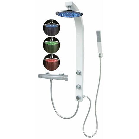 Duschpaneel mit Thermostat Led Regendusche Duschsäule Weiß Dusche mit Massagedüsen Duschsystem Eckmontage
