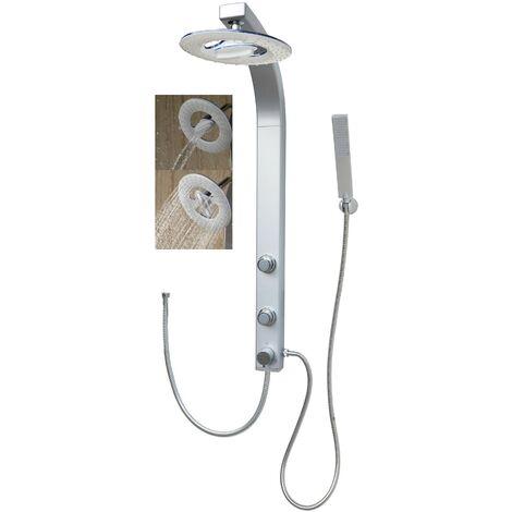 Duschpaneel mit Wasserfall Regendusche Silber Duschset Eckmontage Duschsäule mit Massagedüsen ohne Armatur