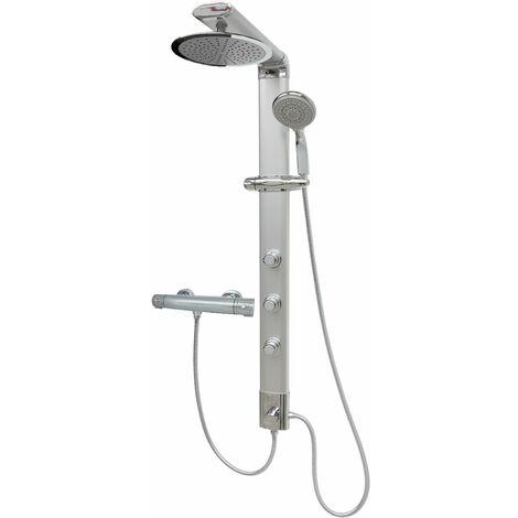 Duschpaneel Regendusche Thermostat Massagedüsen Silber Duschsäule Eckmontage Duschsystem Überkopfbrause Duschset
