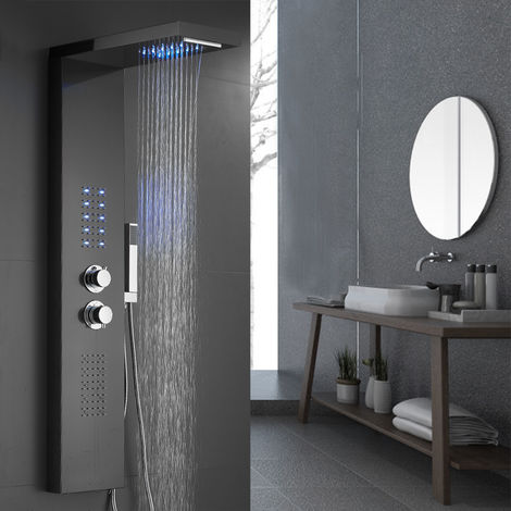 Duschpaneel Thermostat LED Duschköpfe Thermostat Beleuchtung Wasserfall Regendusche Top Handbrausen abnehmbare - schwarz