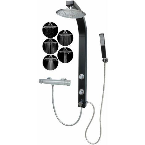 Duschpaneel Thermostat mit Regendusche 5 Funktionen Schwarz Matt mit Massagedüsen Duschsäule Eckmontage