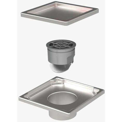 Duschrinne Edelstahl Bodenablauf Ablaufrinne Duschablau flach + Siphon für Bad 110x110mm Edelstahl