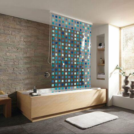 Duschrollo incl. Kassette Duschvorhang Kassetten Duschrollo von KLEINE WOLKE - Design Mosaik Blau - 128x240