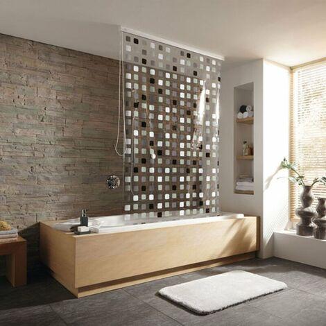 Duschrollo incl. Kassette Duschvorhang Kassetten Duschrollo von KLEINE WOLKE - Design Mosaik Grau - 128x240