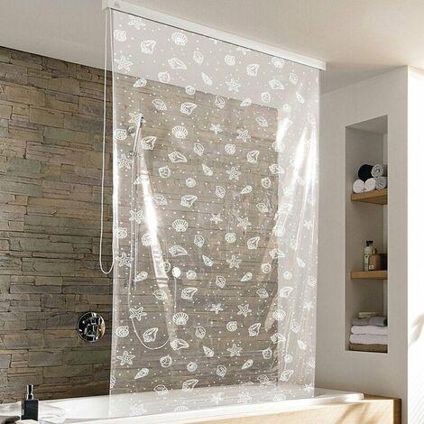 Duschrollo incl. Kassette Duschvorhang Kassetten Duschrollo von KLEINE WOLKE - Design Seashell - 128x240