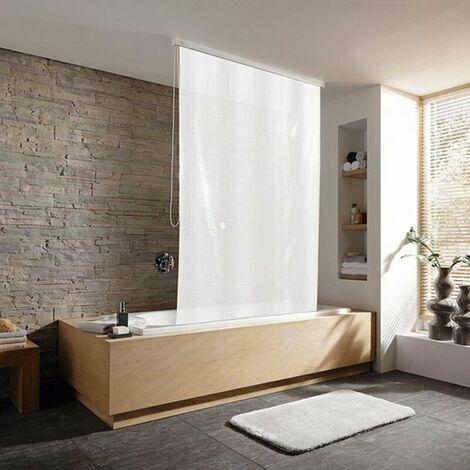 Duschrollo incl. Kassette Duschvorhang Kassetten Duschrollo von KLEINE WOLKE - Design Uni weiß - 128x240