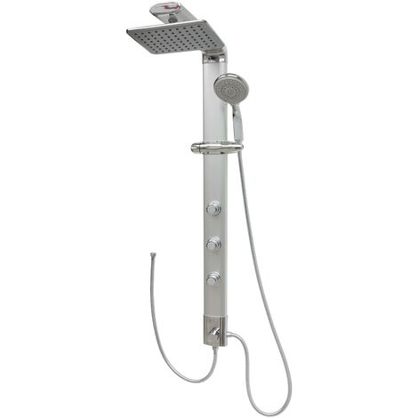 Duschsäule Eckmontage Duschpaneel ohne Armatur Regendusche Massagedüsen Silber Duschsystem Duschset Überkopfbrause