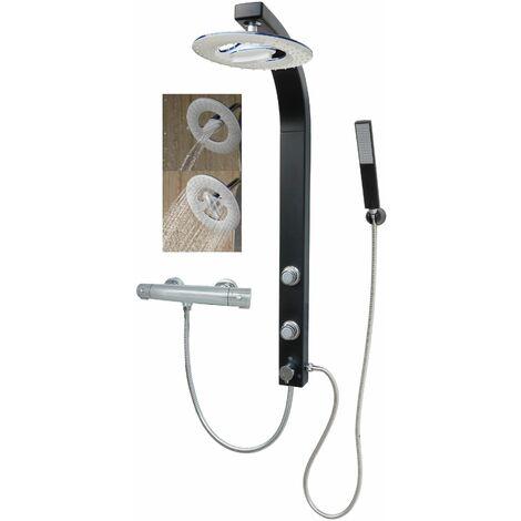 Duschsäule mit Thermostat Wasserfall Regendusche Schwarz Matt Duschset Eckmontage Duschpaneel mit Massagedüsen