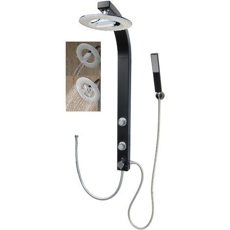 Duschsäule mit Wasserfall Regendusche Schwarz Matt Duschset Eckmontage Duschpaneel mit Massagedüsen ohne Armatur
