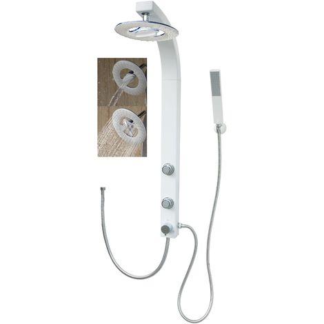 Duschsäule mit Wasserfall Regendusche Weiß Duschset Eckmontage Duschpaneel mit Massagedüsen ohne Armatur
