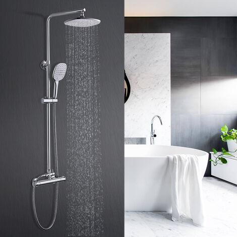 Duschsäule ohne Wasserhahn Regendusche Duscharmatur Duschkopf Duschsystem inkl Handbrause Shower Set, Höhenverstellbar 80-120cm
