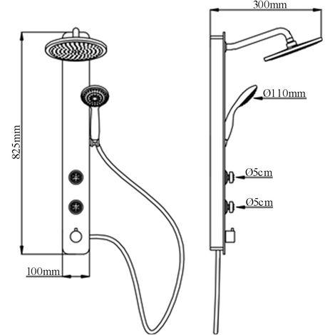 Duschsäule Schwarz Glas Massagedüsen Duschpaneel ohne Armatur eckige Regendusche Wandmontage Duschsystem