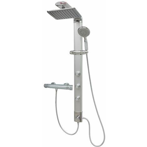 Duschsäule Thermostat Eckmontage Duschpaneel Regendusche Massagedüsen Silber Duschsystem Duschset Überkopfbrause