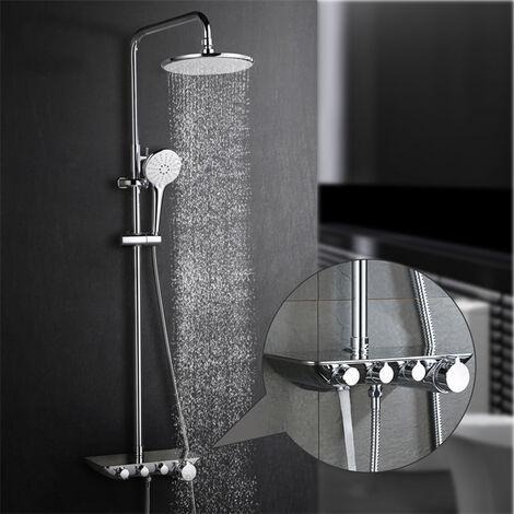 Duschset Duschkopf-Mischbatterie 3-Funktion Duschsystem mit Brause Wasserhahn Regal Edelstahl Duscharmatur Brauseset(Einstellbare Duschrohrs 850-130cm)