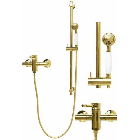 Duschset Duschstange Armatur Handbrause Brauseschlauch Gold