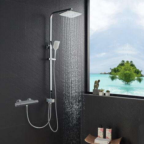 Duschset Duschsystem ohne Armatur Regendusche Duschsäule mit 10 inch Kopfbrause Handbrause und Umstellung Duschstange Dusche Duscharmatur für die Wandmontage