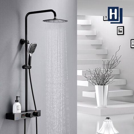 Duschset Duschsystem Schwarz Regendusche mit Kopfbrause und 3 Strahlarten Handbrause, Duscharmatur Duschsäule mit Regal, Höhenverstellbar Duschstange für Dusche und Badewanne