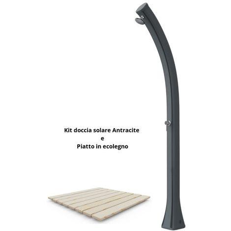 Duschset mit Duschwanne und anthrazitfar cm 19x17x215 SINED ARKEMA-DPE-ANTRACITE