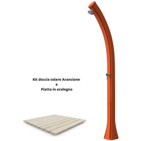 Duschset mit Duschwanne und Orangenholz cm 19x17x215 SINED ARKEMA-DPE-ARANCIO
