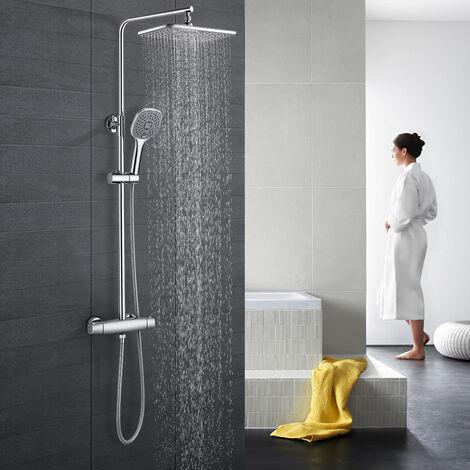 Chrom Duschsystem Duscharmatur Set Regendusche Handbrause 25 cm Duschkopf Bad