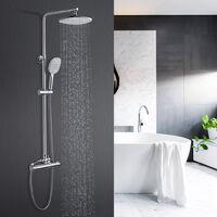 Duschs?ule ohne Wasserhahn Regendusche Duscharmatur Duschkopf Duschsystem inkl Handbrause Shower Set, H?henverstellbar 80-120cm