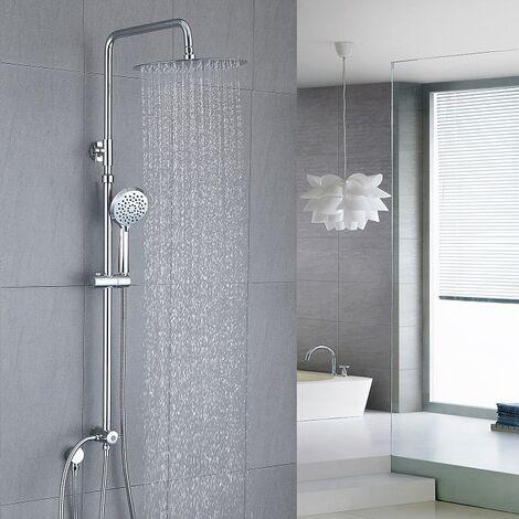 Duschsystem aus Edelstahl ohne Armatur, Regenduschset Duschset und Handbrause, Duschsäule mit Kopfdusche, Duschstange von 90-125cm verstellbar für Badzimmer