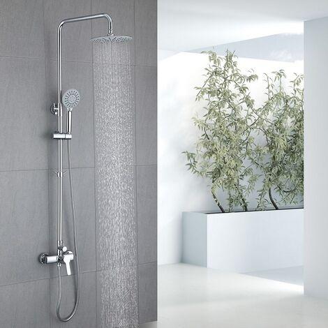 Duschsystem chrom Duscharmatur Regendusche mit 3-Strahlen Handbrause Duschset inkl. Regenbrause, Haken, Duschstange 900 mm – 1300mm groß