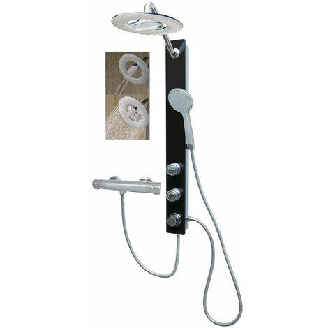 Duschsystem Glas Schwarz Regendusche Wasserfall Funktion Massagedüsen mit Thermostat Wandmontage Duschthermostat Brause