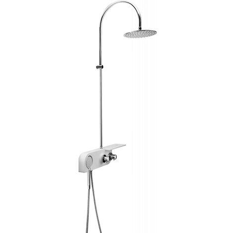 Duschsystem mit Ablage und Thermostat, Kopfbrause 25cm und Handbrause höhenverstellbar