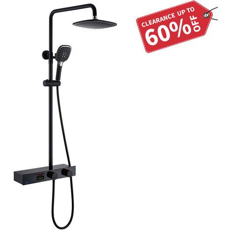 Duschsystem mit LED Temperatur-Anzeige, Schwarz Duscharmatur Regendusche, Duschsäule mit Regal, 3 Funktionen Duschset, Überkopfbrause, Edelstahl Verstellbarer Duschstange für Badezimmer Dusche