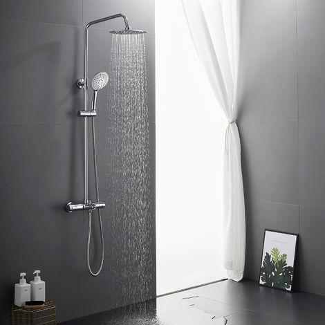 Chrom Duschsystem Thermostat Duschset Regendusche Duscharmatur Duschsäule mit