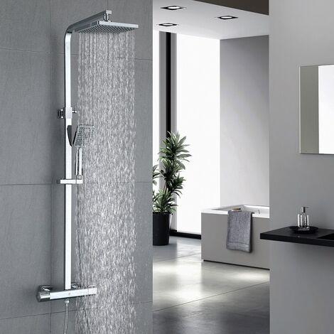 Duschsystem mit Thermostat Duscharmatur eckig Regendusche Duschset Dusche inkl. Handbrause, Regenbrause, chrom