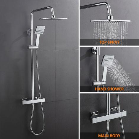 Duschsystem mit Thermostat Duscharmatur mit Regendusche und Handbrause Duschsäule Thermostatarmatur Duschset Duschgarnitur Brausegarnitur, Brauseset mit Duschstange Edelstahl für Badezimmer