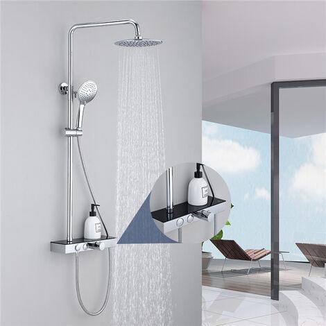 Duschsystem mit Thermostat Duschset mit Regal Regendusche Duscharmatur chrom inkl. Handbrause Überkopfbrause Brausestange