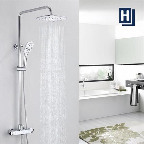Duschsystem mit Thermostat Mischer, Duscharmatur Thermostat mit Regendusche und Handbrause, Anti-Verbrühungs-Duschsystem