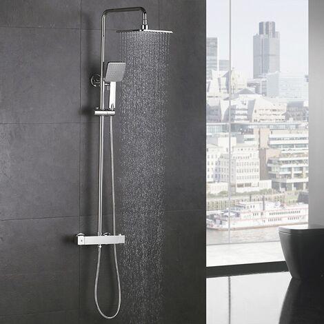 Duschsystem mit Thermostat Regendusche Duschset Duschsäule Dusche Duscharmatur Brausethermostat Shower inkl. Verstellbar Duschstange Kopfbrause Handbrause