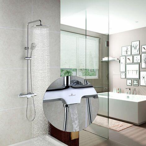 Duschsystem Regendusche Duschset verstellbarer Duschstange Handbrause Duschkopf