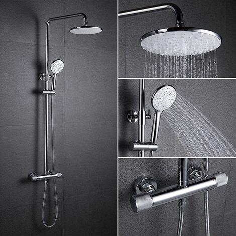 Duschsystem mit Thermostat Regendusche eckig Duscharmatur Duschset Dusche inkl. Handbrause Regenbrause Anti-Verbrühungs-Duschsystem chrom