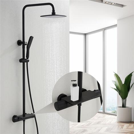 Duschsystem mit Thermostat, Schwarz Duschset Regendusche inkl. Kopfbrause, Handbrause, Regal, verstellbarer Duschstange, Dusche Duschpaneel Duschgarnitur Duschsäule Duscharmatur