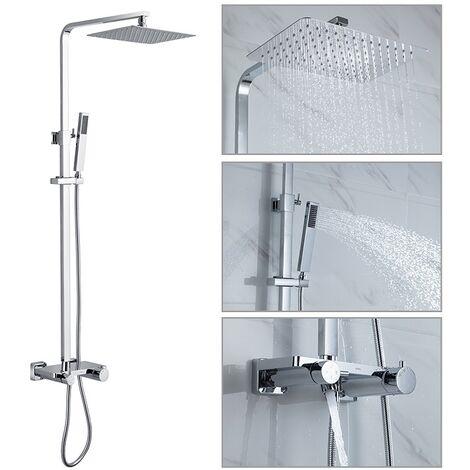 Duschsystem mit Thermostatbatterie Duscharmatur 3-Funktionen Regendusche mit Tablett Duschkopf Duschstange Duschset für die Wandmontage chrom