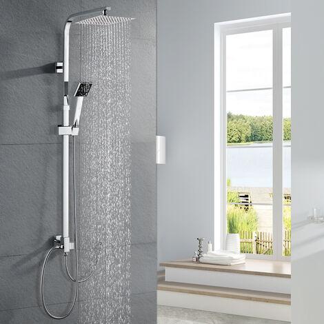 Duschsystem ohne Armatur Duschsäule Regendusche Duscharmatur inkl. Verstellbar Duschstange (885-1235 mm), Kopfbrause aus SUS304 Edelstahl und Handbrause