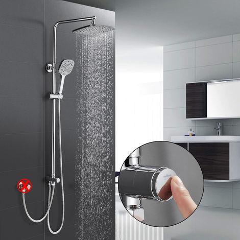 Duschsystem ohne Armatur, WOOHSE Duschset Regendusche Duscharmatur, Handbrause mit 3 Strahlen, verstellbarer Duschstange, Dusche Duschsäule Set für Badezimmer, Lebenslange Garantie